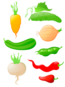 set of  glossy vegetable iconsのイラスト素材 [FYI03078975]