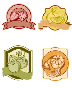 set of vintage labels with fruits and berriesのイラスト素材 [FYI03078987]