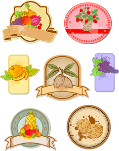 set of vintage labels with fruits and nutsのイラスト素材 [FYI03078996]