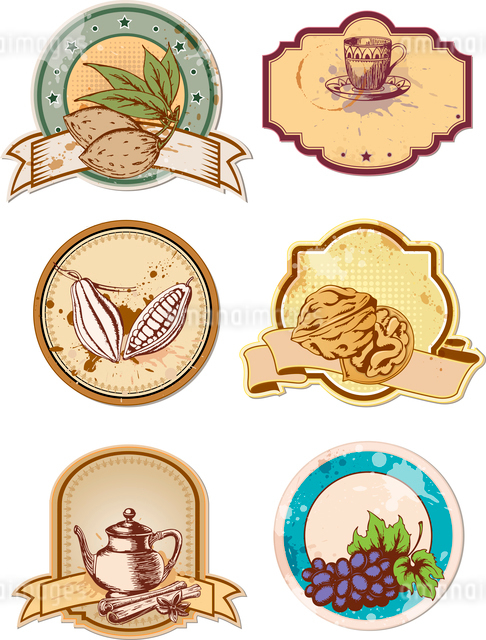 set of hand drawn vector food and drink  labelsのイラスト素材 [FYI03078997]