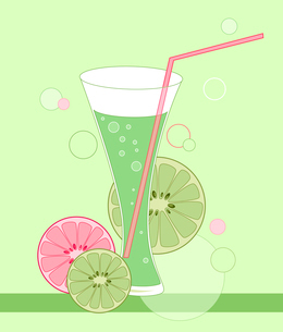 glass with lime drink on a green backgroundのイラスト素材 [FYI03078998]