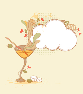 Vector hand drawn retro martini glass and olivesのイラスト素材 [FYI03079007]