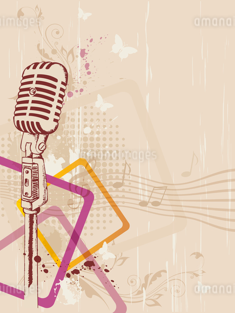 retro music background with microphone and floral ornamentのイラスト素材 [FYI03079010]