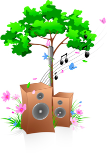 Music background with green tree, flowers and butterflyのイラスト素材 [FYI03079013]