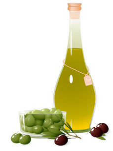 Bottle with olive oil, olive branch and olives in a bowlのイラスト素材 [FYI03079019]