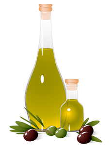Bottle with olive oil, olive branch and olivesのイラスト素材 [FYI03079021]