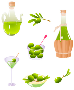 green olives and olive oilのイラスト素材 [FYI03079027]