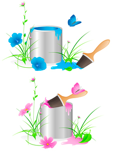 tin with a paint, flowers, green grass and brushのイラスト素材 [FYI03079036]
