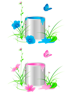 tin with a paint, flowers, green grass and butterflyのイラスト素材 [FYI03079039]