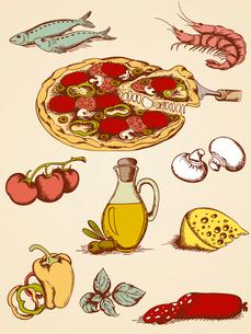 set of  hand drawn pizza iconsのイラスト素材 [FYI03079050]