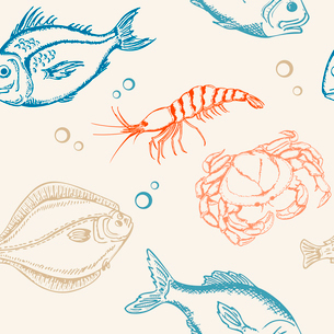 seamless pattern with fish, crab and shrimpのイラスト素材 [FYI03079085]