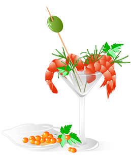 shrimps and red caviar  in a crystal tableware with leaves of parsley, olive and dillのイラスト素材 [FYI03079086]