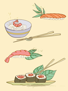 set of hand drawn vector seafood iconsのイラスト素材 [FYI03079087]