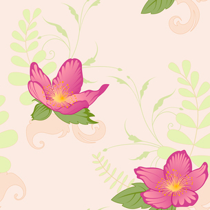 floral seamless pattern with violet flowers and ornamentのイラスト素材 [FYI03079094]