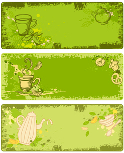 set of green tea banners in grunge styleのイラスト素材 [FYI03079120]