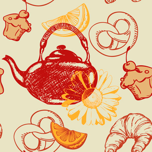 vector seamless pattern with teapot and fruitsのイラスト素材 [FYI03079127]