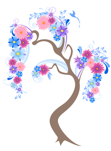 flowering tree with blue flowers and birdのイラスト素材 [FYI03079134]