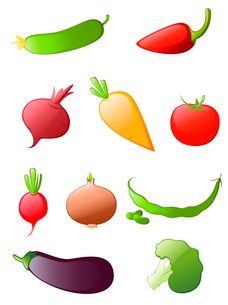 colored glossy vegetables icon setのイラスト素材 [FYI03079155]