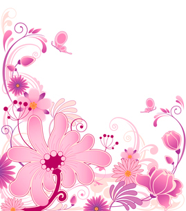 violet floral background  with ornament and flowersのイラスト素材 [FYI03079169]