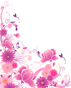 violet floral background  with ornament and flowersのイラスト素材 [FYI03079173]