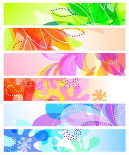 Set of six horizontal decorative banners backgroundsのイラスト素材 [FYI03079197]