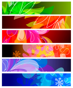 Set of six horizontal decorative banners backgroundsのイラスト素材 [FYI03079198]