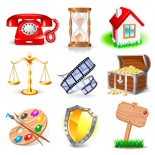 Set of nine diferent 3D objects iconsのイラスト素材 [FYI03079233]