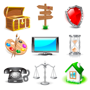 Set of nine diferent 3D objects iconsのイラスト素材 [FYI03079238]