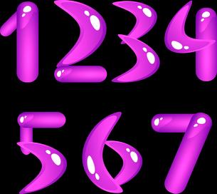Violet shiny alphabet. Digits (part 1)のイラスト素材 [FYI03079265]