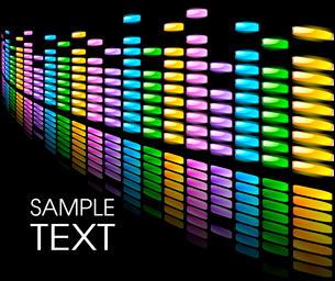 Abstract background with colorful equalizer on blackのイラスト素材 [FYI03079483]