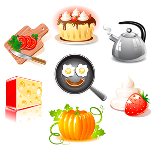 Set of food iconsのイラスト素材 [FYI03079681]