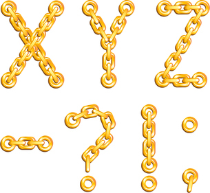 Golden chained alphabetのイラスト素材 [FYI03079683]