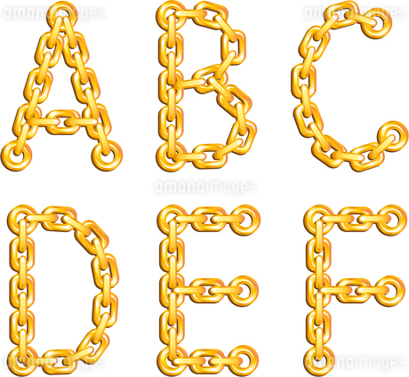 Golden chained alphabetのイラスト素材 [FYI03079685]