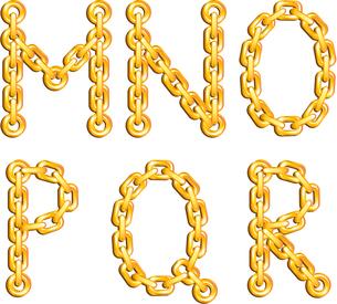 Golden chained alphabetのイラスト素材 [FYI03079686]