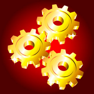 Golden gears on on a red backgroundのイラスト素材 [FYI03079689]