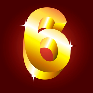 Number six. Vector golden fontのイラスト素材 [FYI03079696]