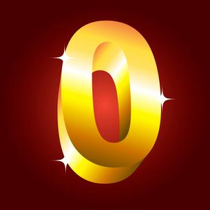 Number zero. Vector golden fontのイラスト素材 [FYI03079699]
