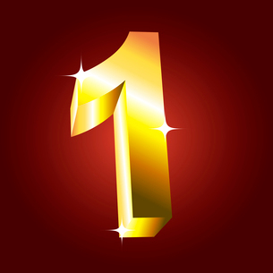 Number one. Vector golden fontのイラスト素材 [FYI03079700]