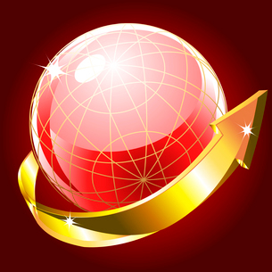 Glass globe with golden arrow on a red backgroundのイラスト素材 [FYI03079701]