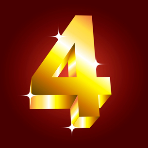 Number four. Vector golden fontのイラスト素材 [FYI03079702]