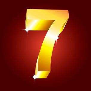 Number seven. Vector golden fontのイラスト素材 [FYI03079707]