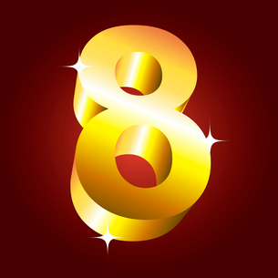 Number eight. Vector golden fontのイラスト素材 [FYI03079713]