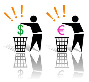 Concept with recycling sign of vain spending of moneyのイラスト素材 [FYI03079823]