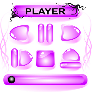 Set of violet glass buttons for media playerのイラスト素材 [FYI03079828]