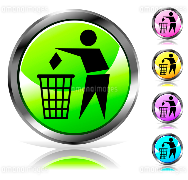 Glossy recycling sign button in different colorsのイラスト素材 [FYI03079829]