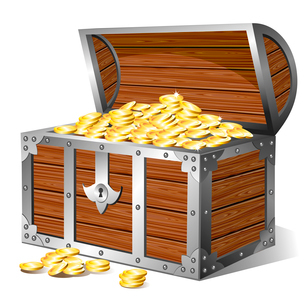 Old wooden treasure chest with golden coinsのイラスト素材 [FYI03079897]