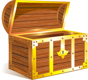 Old wooden chest with golden detailsのイラスト素材 [FYI03079903]