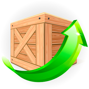 Wooden box with green arrowのイラスト素材 [FYI03079939]