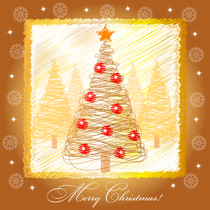 Christmas card illustration with golden christmas treeのイラスト素材 [FYI03079950]
