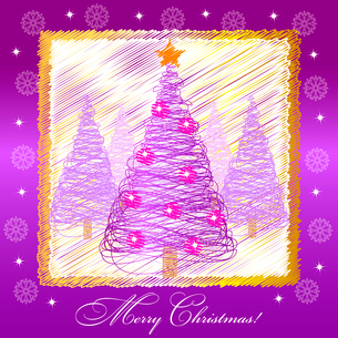 Christmas card illustration with violet christmas treeのイラスト素材 [FYI03079959]